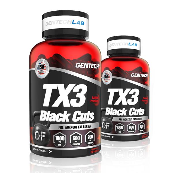 Quemador de grasa. Convierte la grasa en energía. Compuesto por CLA, l-carnitina y cafeina. Transporta los ácidos grasos al interior de los musculos. TX3 Black Cuts Gentech
