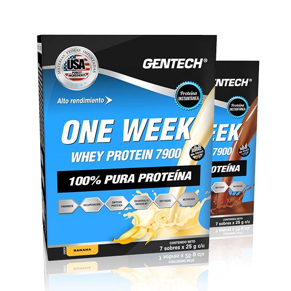 Suplemento Dietario Gentech One Week x 7 sobres. Posee 100 % pura proteína.