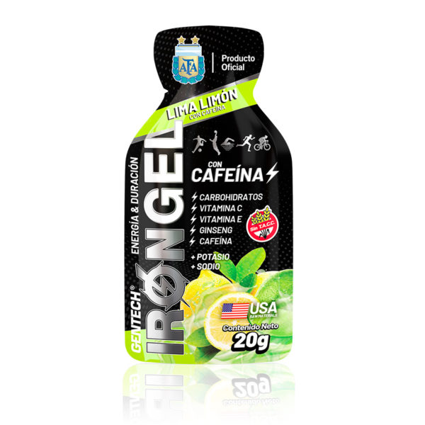 IRON GEL CAFEÍNA Gel energético a base de carbohidratos, vitamina E, vitamina C, ginseng y cafeína