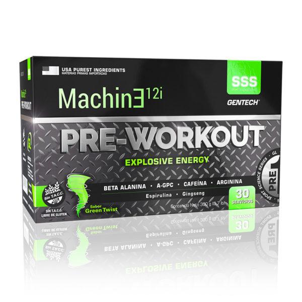 Machine 12i PRE-WORKOUT fuerza muscular gracias a la combinación de la Beta Alanina y el A-GPC