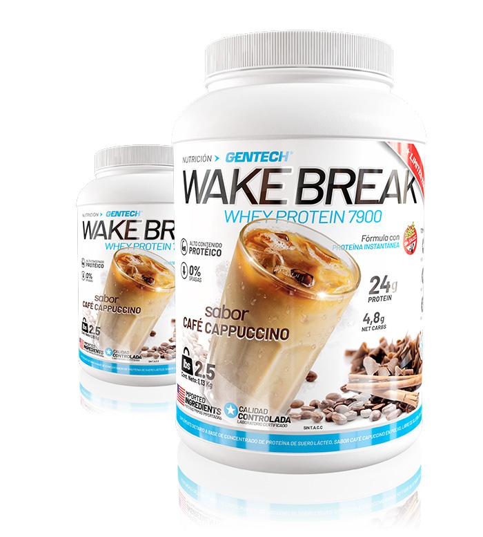 Wake Break Gentech Cappuccino WAKE BREAK es la combinación perfecta de proteína whey de máxima calidad con extractos naturales de cafeína, ideal para comenzar el día con toda la energía.