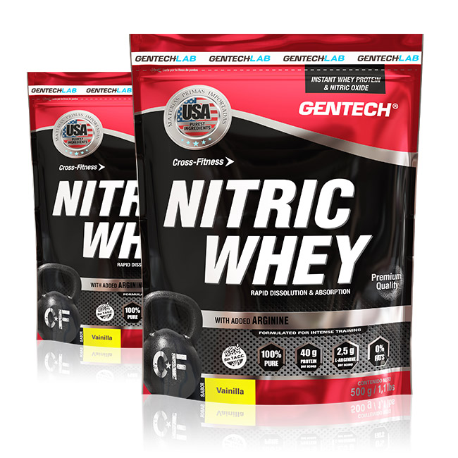 NITRIC WHEY Enriquecido con Arginina. Posee alta calidad y elevadísimo valor biológico