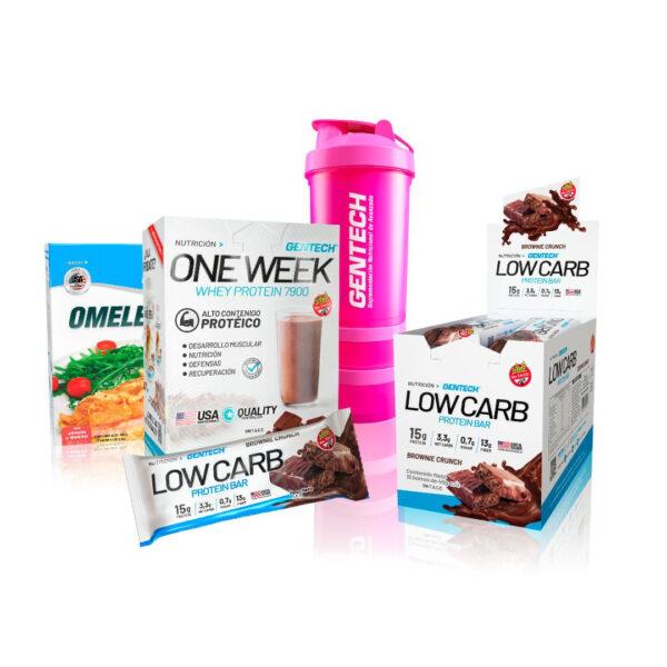Combo Nutricion Gentech one week barras Low Carb Omelette Blender Shaker3