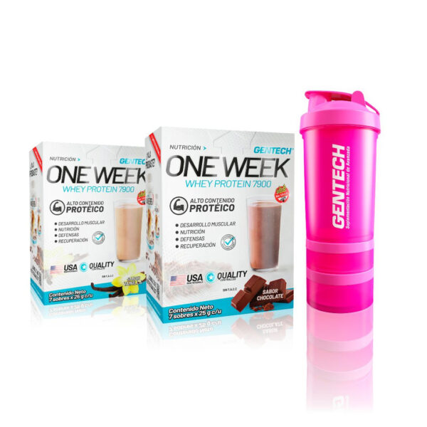 Combo Nutricion Gentech one week barras Low Carb Omelette Blender Shaker4